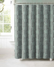 Slate Blue Jacquard Fabric Shower Curtain: Gray Textured Leaf Design