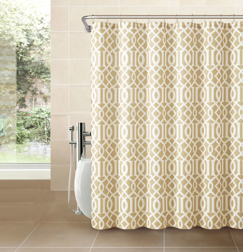 gold and brown shower curtain. gold taupe fabric shower curtain: white imperial trellis geometrical print and brown curtain b