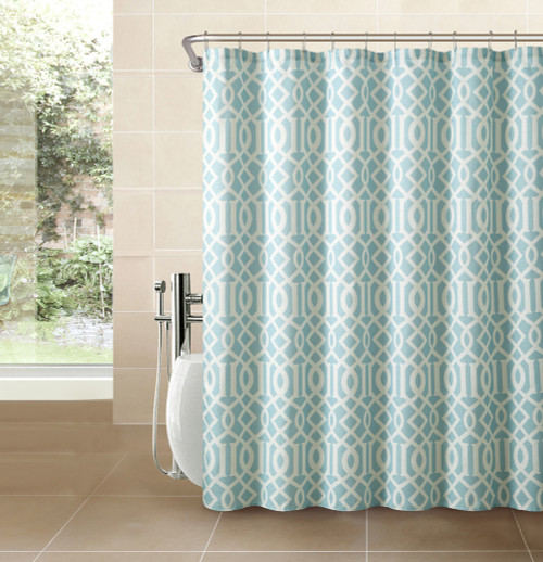 Marvelous Spa Blue Fabric Shower Curtain: White Imperial Trellis Geometrical Print