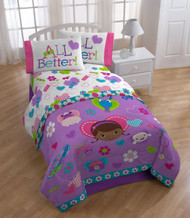 Doc McStuffins Twin Bed Sheet Set: Cotton Rich, One Pillow Case, Fitted and Flat Sheet