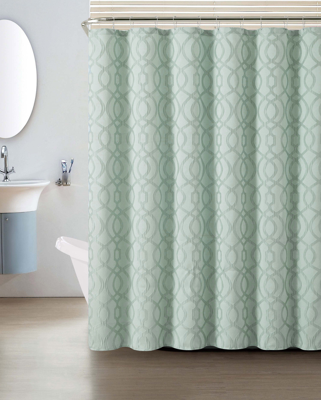 Blue crushed jacquard shower curtain macon geometric for Blue and silver bathroom decor