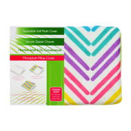 Reversible Soft Pillow Cover Case: Zippered, Lime, Teal, Pink, Zig Zag Design