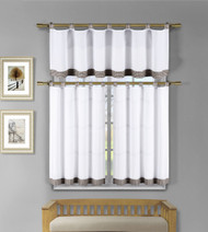 3 Pc White Kitchen Window Curtain Set: Brown Check Design, 1 Valance, 2 Tiers