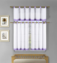 3 Pc White Kitchen Window Curtain Set: Lilac Purple Check Design, 1 Valance, 2 Tiers