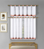 3 Pc White Kitchen Window Curtain Set: Orange Check Design, 1 Valance, 2 Tiers