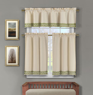 3 Piece Faux Linen Kitchen Window Curtains: Sage Green Crocheted Lace Border | Bathroom and More