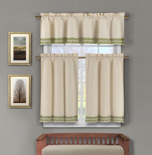 3 Piece Linen Kitchen Window Curtain Set Sage Green Crochet Bottom Bathroom And More