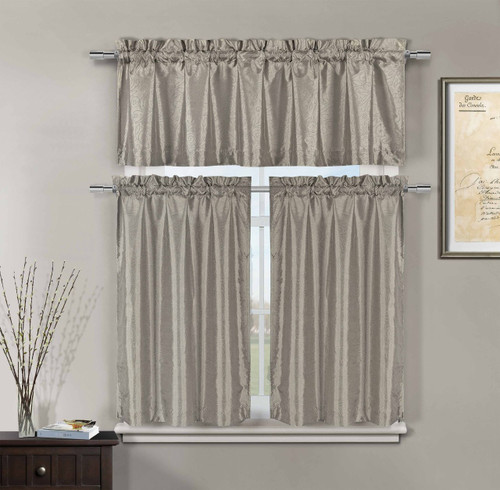 Marvelous 3 Piece Silver Taupe Faux Silk Kitchen Window Curtain Set: Metallic Silver  Raised Floral Design