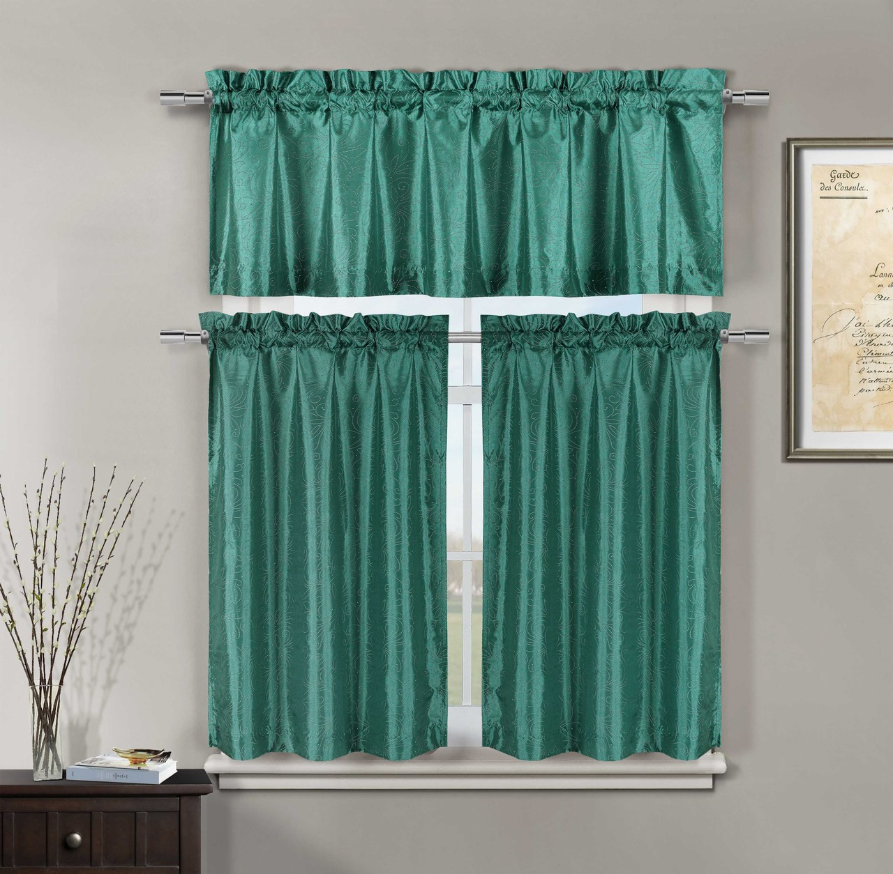 3 piece teal kitchen window curtain set faux silk pin for 3 window curtain design