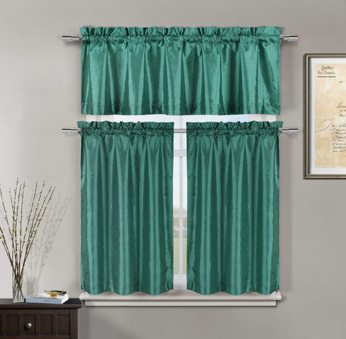3 Piece Teal Faux Silk Kitchen Window Curtain Set: Metallic Silver Raised Floral Design