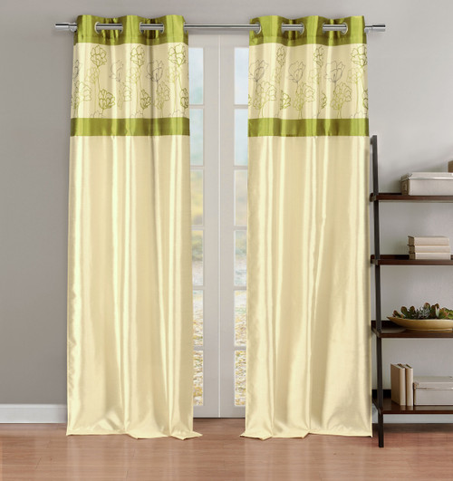 Faux Silk Linen Window Curtain Panel Pair with Lime Green Floral Accents