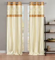 Faux Silk Linen Window Curtain Panel Pair with Gold Floral Accents