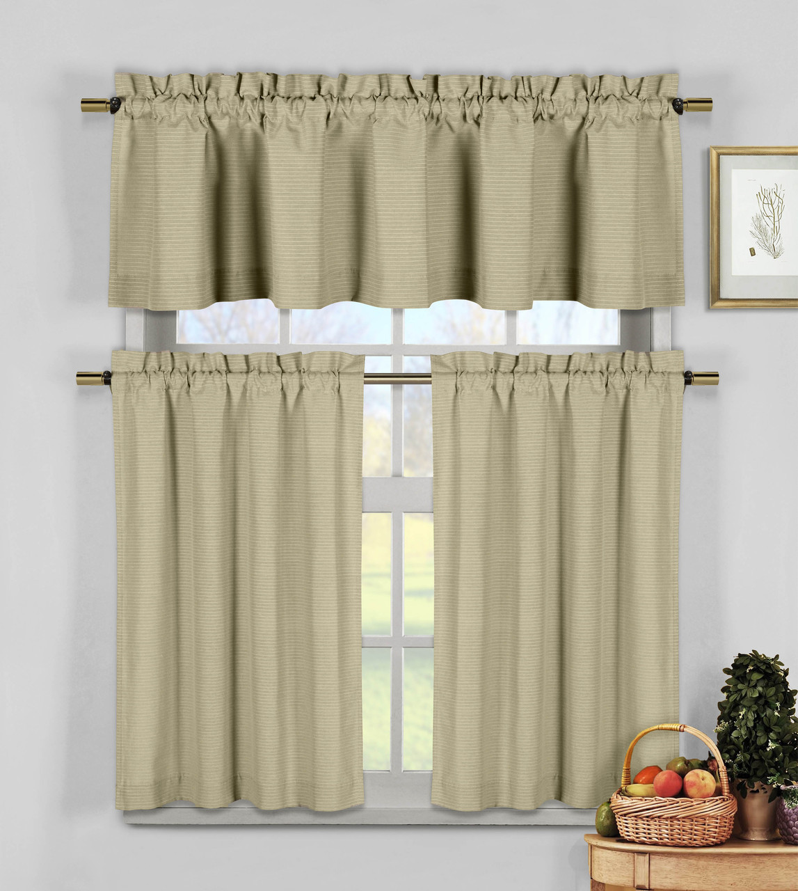 Fabric For Kitchen Curtain: Taupe 3 Pc Kitchen Window Curtain Set: Natural Cotton Blend Fabric, 1 Valance, 2 Tiers Plus