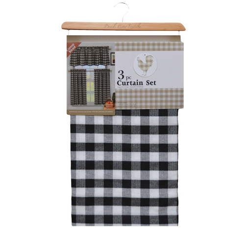 Black and White Gingham Check 3 Piece Kitchen Window Curtain Set