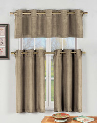 Taupe 3 Pc Kitchen Window Curtain Set with Silver Metal Grommets: 1 Valance, 2 Tier Panels