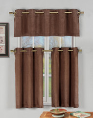 Chocolate Brown 3 Pc Kitchen Window Curtain Set with Silver Metal Grommets: 1 Valance, 2 Tier Panels