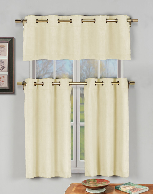 Champagne Beige 3 Pc Kitchen Window Curtain Set With Silver Metal Grommets 1 Valance 2 Tier