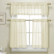 3 Piece Ivory Sheer Kitchen Curtain Set: Woven Check Design, 1 Valance, 2 Tier Panels