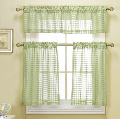 3 Piece Sage Green Sheer Kitchen Curtain Set Woven Check Design 1 Valance 2 Tier Panels