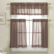 3 Piece Chocolate Brown Sheer Kitchen Curtain Set: Woven Check Design, 1 Valance, 2 Tier Panels