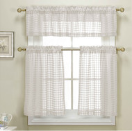 3 Piece White Sheer Kitchen Curtain Set: Woven Check Design, 1 Valance, 2 Tier Panels