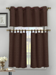 3 Piece Textured Cotton Blend Chocolate Brown Jacquard Kitchen Window Curtain Set