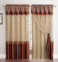 "2 Panel Window Curtain Drapery Panel Set: Double-Layer, Solid Color Back with Embroidered Sheer Top and Valance, 110""x90"", Cinnamon and Gold"
