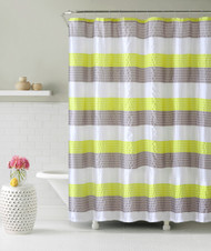 Lime Green Gray and Ivory Fabric Shower Curtain: Stripe Design