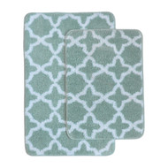 2 Pc Plush Moroccan Trellis Print Bath Mat/Area Rug Set: Green and White, Non-Skid Backing, 20in x 32in and17in x 24in