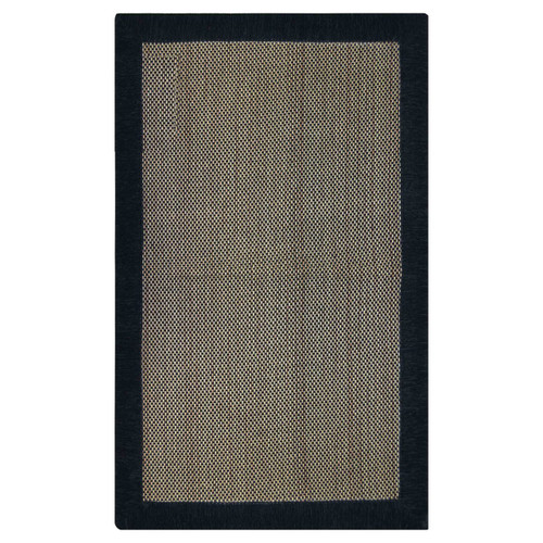 Black and Brown Rectangular Basket-Weave Design Floor Mat: 24in x 40in