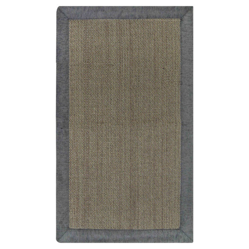 Gray and Taupe Rectangular Basket-Weave Design Floor Mat: 24in x 40in