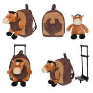 Kids/Toddler Brown Rolling Backpack with Detachable Stuffed Plush Horse Toy