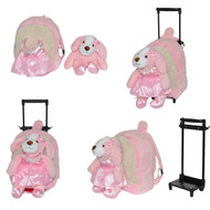 Kids/Toddler Pink Rolling Backpack with Removable Stuffed Plush Ballerina Puppy