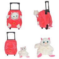 Kids/Toddler Candy Pink Rolling Backpack with Removable Stuffed Plush Kitty