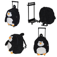 Black and White Penguin Rolling Backpack with Removable Handle and Wheels