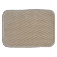 "Taupe Memory Foam Bath Floor Mat/area Rug: Soft Plush Dot Design with Border, 17"" x 24"", Non-skid Backing"
