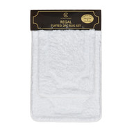 "Pure White Plush 2 Piece Set Floor Area Rug: 20"" x 32"", Step-Out Bathmat 17"" x 24"", Non-Skid Backing, Tufted Design"