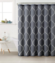Dark Blue Fabric Shower Curtain with White Embroidered Trellis Design