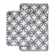 Charcoal Gray and White 2 Pc Plush Circular Geometric Print Bath Mat/Area Rug Set: Charcoal Gray and White, Non-Skid Backing