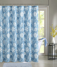 Blue Embossed Fabric Shower Curtain: White Floral Design