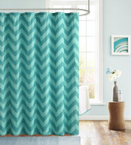 Teal and Blue Embossed Fabric Shower Curtain: Chevron Zig Zag Design
