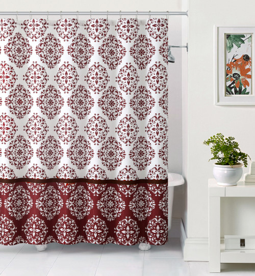 White And Burgundy Embossed Fabric Shower Curtain
