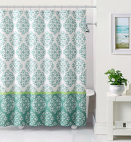 White and Blue Embossed Fabric Shower Curtain: Moroccan Medallion Design