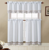 White and Taupe 3 Piece Kitchen Window Curtain Set: Flower Embroidered, Doily Accent