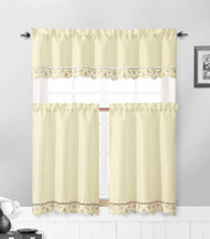 Beige and Taupe 3 Piece Kitchen Window Curtain Set: Flower Embroidered, Doily Accent