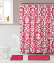 Pink Bathroom Set: 2 Memory Foam Floor Mats, Fabric Shower Curtain, Silver RollerBall Shower Hooks