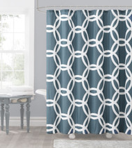 Slate Blue and White Embossed Fabric Shower Curtain: Chain Lattice Design