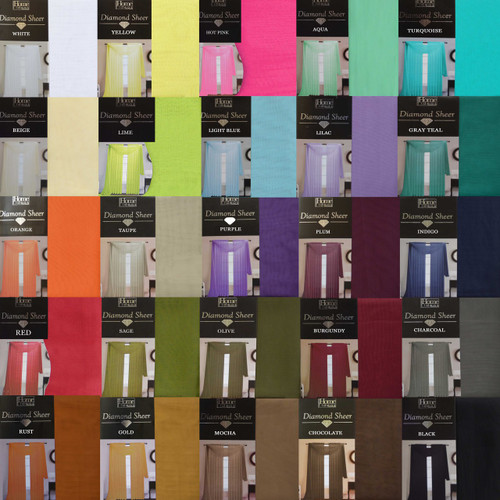 """63"""" Single Sheer Window Curtain Panel: Mix and match your own assortment of colors to customize your window at an affordable price with your choice of Aqua, Beige, Black, Burgundy, Red, Chocolate, Hot Pink, Gold, Lilac, Lime, Light Blue, Indigo, Orange, Plum, Purple, Olive, Rust, Sage, Charcoal, Taupe, Turquoise, White, Gray Teal, Mocha or Yellow."""