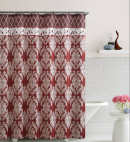 Burgundy and Brick Red Embossed Fabric Shower Curtain: Floral Medallion/Trellis Design