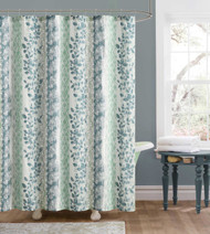 Blue Taupe and Beige Embossed Fabric Shower Curtain: Floral and Trellis Design